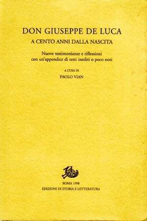 copertina di Don Giuseppe De Luca a cento anni dalla nascita