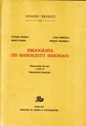 copertina di Bibliografia dei manoscritti sessoriani