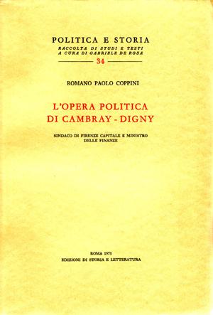 copertina di L'opera politica di Cambray-Digny, sindaco di Firenze capitale e ministro delle Finanze