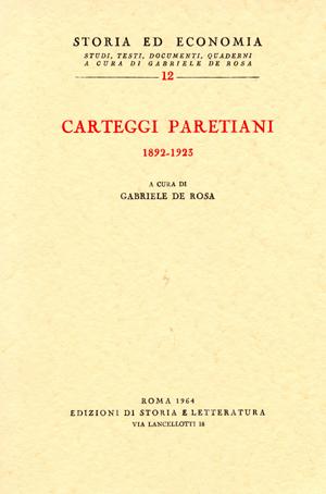 copertina di Carteggi paretiani (1892-1923)