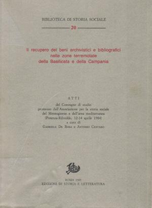 copertina di Il recupero dei beni archivistici e bibliografici nelle zone terremotate della Basilicata e della Campania: bilancio e prospettive di ricerca