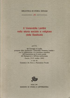 copertina di Il Venerabile Lentini nella storia sociale e religiosa della Basilicata