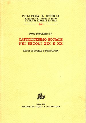 copertina di Cattolicesimo sociale nei secoli XIX e XX