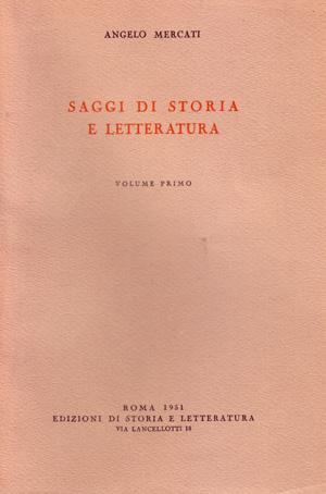 copertina di Saggi di storia e letteratura. I