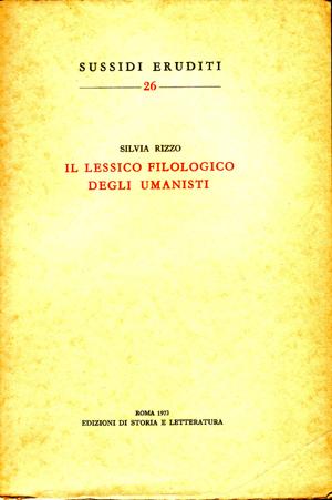 copertina di Il lessico filologico degli umanisti