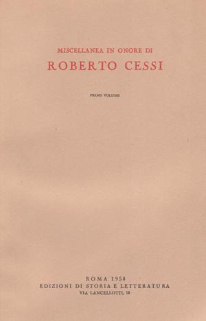 copertina di Miscellanea in onore di Roberto Cessi