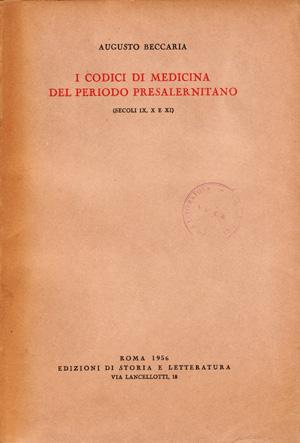copertina di I codici di medicina del periodo presalernitano