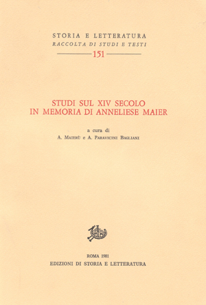 copertina di Studi sul XIV secolo in memoria di Anneliese Maier