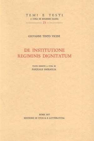 copertina di De institutione regiminis dignitatum