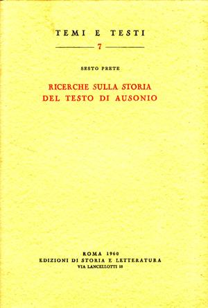 copertina di Ricerche sulla storia del testo di Ausonio