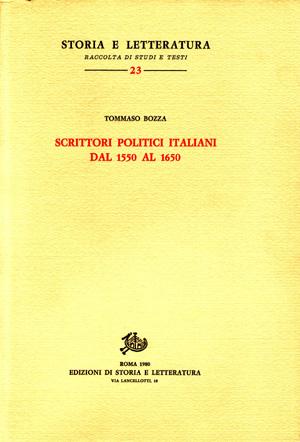 copertina di Scrittori politici italiani dal 1550 al 1650