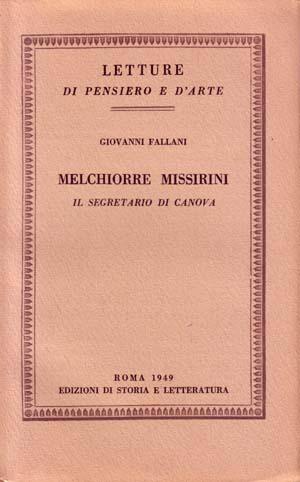 copertina di Melchiorre Missirini, il segretario di Canova