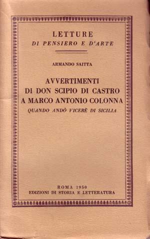 copertina di Avvertimenti di Don Scipio di Castro a Marco Antonio Colonna quando andò viceré di Sicilia