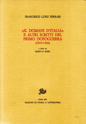 copertina di «Il domani d'Italia» e altri scritti del primo dopoguerra (1919-1926)