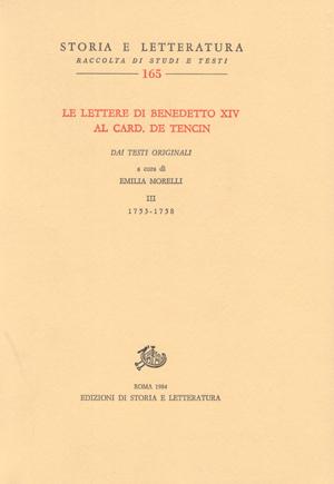 copertina di Le lettere di Benedetto XIV al card. de Tencin. III