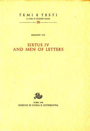 copertina di Sixtus IV and Men of Letters