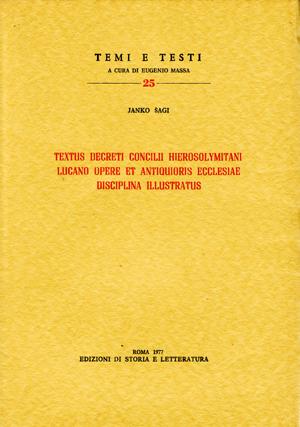 copertina di Textus decreti Concilii Hierosolymitani Lucano Opere et antiquioris Ecclesiae disciplina illustratus