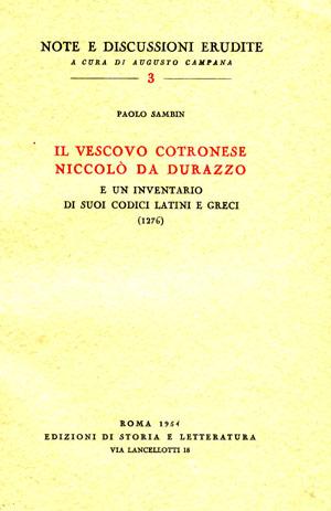 copertina di Il vescovo cotronese Niccolò da Durazzo e un inventario di suoi codici latini e greci (1276)