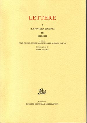 copertina di Lettere a «La Riviera Ligure», III