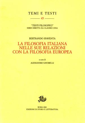copertina di La filosofia italiana nelle relazioni con la filosofia europea