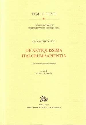 copertina di De antiquissima italorum sapientia