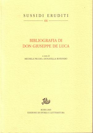 copertina di Bibliografia di don Giuseppe De Luca