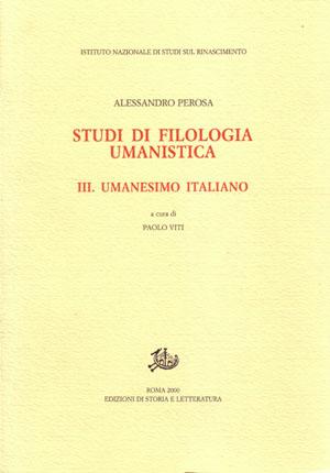 copertina di Studi di filologia umanistica. III