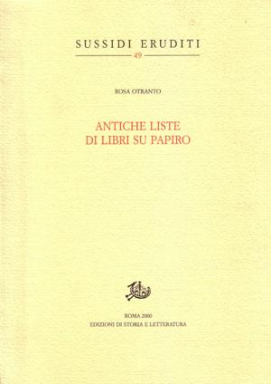 copertina di Antiche liste di libri su papiro