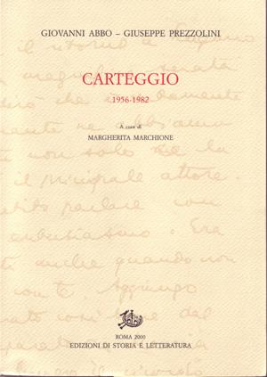 copertina di Carteggio 1956-1982