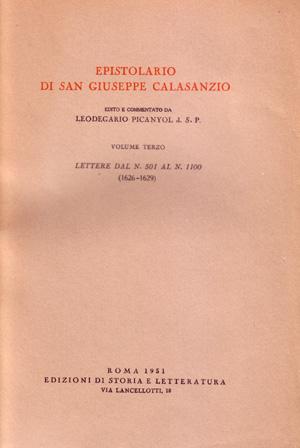 copertina di Epistolario di san Giuseppe Calasanzio. III