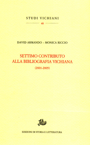 copertina di Settimo contributo alla bibliografia vichiana