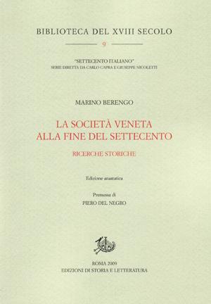 copertina di La società veneta alla fine del Settecento