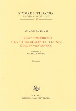 copertina di Decimo contributo alla storia degli studi classici e del mondo antico