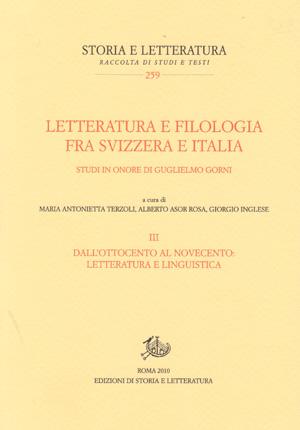 copertina di Letteratura e filologia fra Svizzera e Italia. III