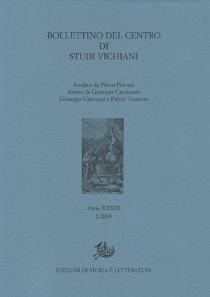 copertina di Bollettino del centro di Studi Vichiani 39/2