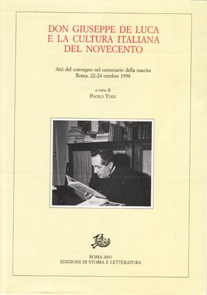 copertina di Don Giuseppe De Luca e la cultura italiana del Novecento