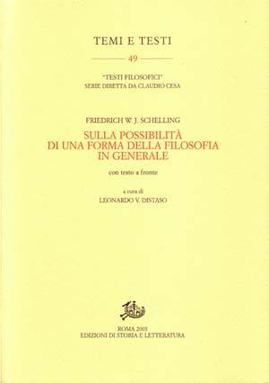 copertina di Sulla possibilità di una forma della filosofia in generale