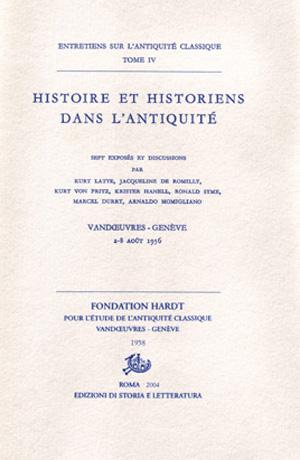 copertina di Histoire et historiens dans l'antiquité
