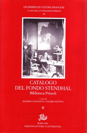 copertina di Catalogo del fondo Stendhal