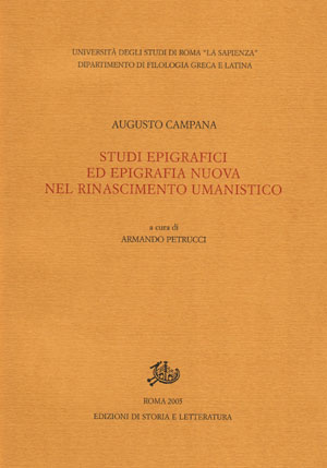 copertina di Studi epigrafici ed epigrafia nuova nel Rinascimento umanistico