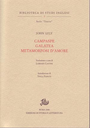 copertina di Campaspe. Galatea. Metamorfosi d'amore