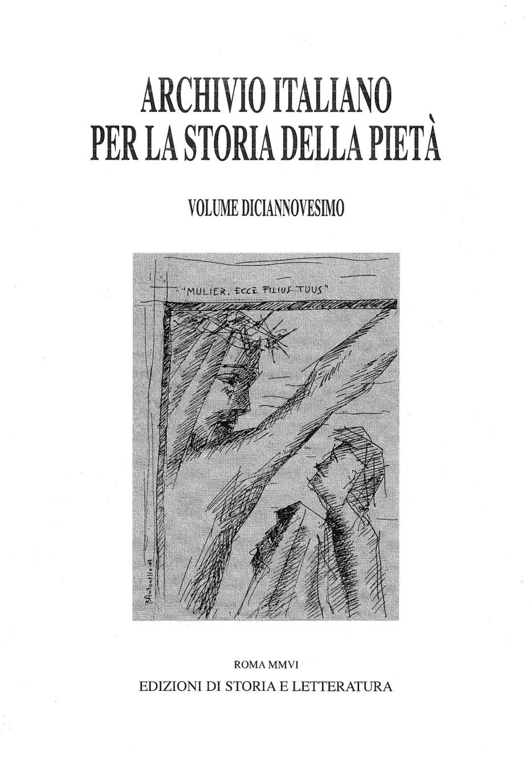 copertina di Archivio italiano per la storia della pietà, xix