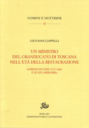 copertina di Un ministro del Granducato di Toscana nell'età della Restaurazione