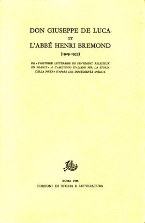 copertina di Don Giuseppe De Luca et l'Abbé Henri Bremond (1929-1933)
