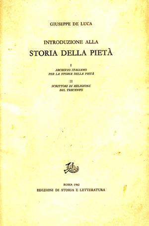 copertina di Introduzione alla storia della pietà