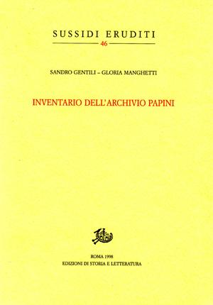 copertina di Inventario dell'Archivio Papini