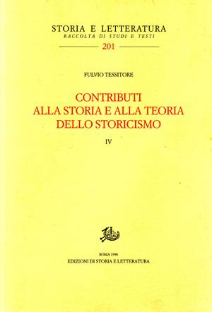copertina di Contributi alla storia e alla teoria dello storicismo. IV