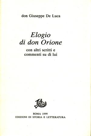 copertina di Elogio di Don Orione